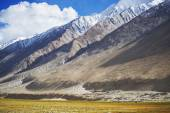 Meadows and snow mountain range Ladakh ,India - September 2014 — Foto de Stock