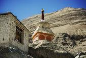 Buddhist stupas in Diskit Monastery, Ladakh, India - September 2014 — Stock Photo