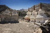 Buddhist stupas near Diskit Monastery, Ladakh, India - September 2014 — Stock Photo