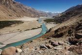 Shyok river in Nubra valley Ladakh ,Jammu & Kashmir, India - September 2014 — Stock Photo