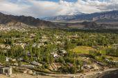 Views of Leh city from Shanti Stupa Ladakh ,India - September 2014 — Stock Photo