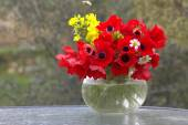Red anemones in a vase. — Stock Photo