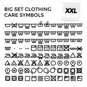 Vector Illustration Set Clothing Care Symbols. — Stock Vector