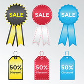 Set of labels and stickers for sales — Vector de stock