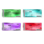 Set of color blurred concert tickets. — Stock Vector