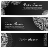 Lacework Ornamental Banners Horizontal Set Isolated on Black Background — Stock Vector