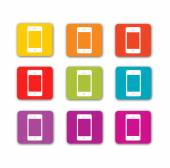Mobile icons in colors — Stock Vector