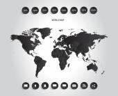 World map infographic black — Stock Vector