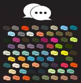 Chat icon vector illustration color set — Stock Vector