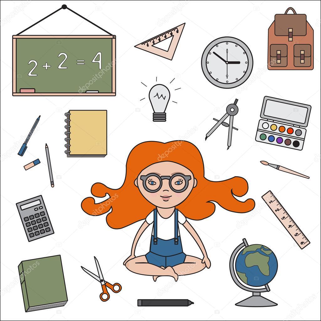 Objetos del sal n de clases describen los iconos vector for 10 objetos en ingles del salon de clases