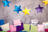 Childrens room pillows — Stock Photo