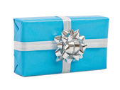 Gift box with ribbon bow. Isolated on white — Stock Photo