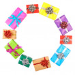Collection set of rows colorful gift boxes with bows in the form — Stock Photo #63357363