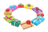 Collection set of rows colorful gift boxes with bows in the form — Stock Photo