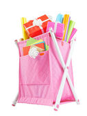 Textile container basket with colored paper for wrapping gifts i — Stockfoto