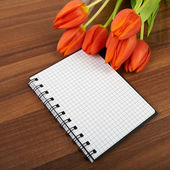 Red tulip flowers on the table, background — Stockfoto