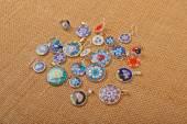 Murano glass jewelry pendants and earrings Venice on canvas — Stockfoto