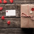 Vintage gift box with blank gift tag — Stock Photo #63052111