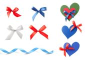 Stack of bows, ribbons and hearts — Stock Photo