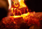 Close up of fire and coals — Stock Photo