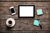 Simple workspace with web surfing — Stock Photo