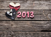 Symbolic heart shapes with 2013 numbers — Stock Photo
