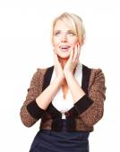 Woman holding her face in astonishment — Stock Photo