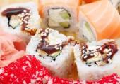 Assorted sushi rolls closeup — Fotografia Stock