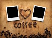 Instant photos with coffee beans — Foto de Stock