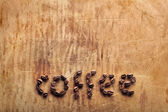 Word Coffee from coffee beans — Foto de Stock
