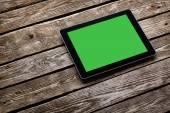 Ordinateur tablette numérique avec écran vert — Photo