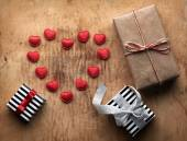 Three gift boxes with small hearts — Foto de Stock