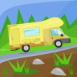 Illustration of a camper on the road in the woods — Stock Vector #63382381