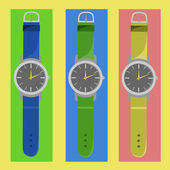 Watches of different colors — Stock Vector