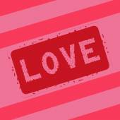 Love stamp on pink background — Stock Vector