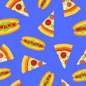Seamless pattern with pizza and hot dog — Stock Vector