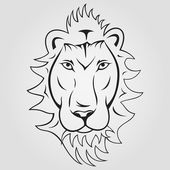 Lion head ioutlined on a white background — Stock Vector