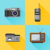 Set of retro flat icon. Photo camera, mobile phone, dictaphone, tv set — Stok Vektör