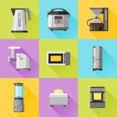 Set of household appliances flat icons. Coffee maker, kettle, multicooker, microwave oven, refrigerator, stove, meat grinder, blender, toaster — Stock Vector