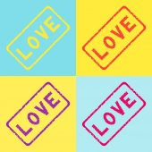 Love stamp in different colors — Stock Vector