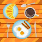 Breakfast with fried eggs, sausages, croissant and cup of coffee on wood background. Top view. — Stock Vector