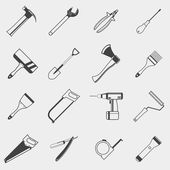 Set of construction tools monochrome icons on white background — Stock Vector