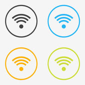 Wifi round icons in different colors — Stock Vector