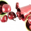 Three buckets with red apples isolated over white — Stock Photo #65298449