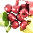 Three buckets with red apples isolated over white — Stock Photo #65298451