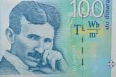 Nikolas tesla on Serbian dinar banknote — Stok fotoğraf