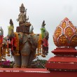 Statue of elephants in gold triangle of thailand — Stock Photo #70879829