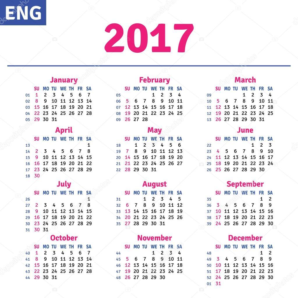 English calendar 2017 — Stock