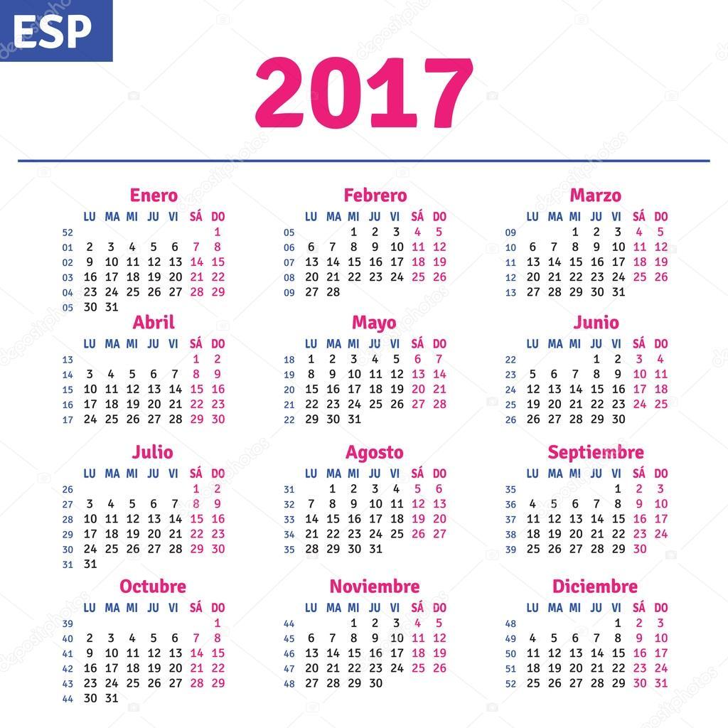 Download - Spanish calendar 2017 — Stock Illustration #101017720
