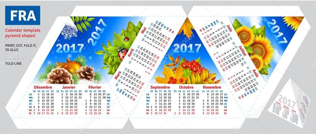Modello calendario 2017 di stagioni piramide a forma di for Modello di paese francese